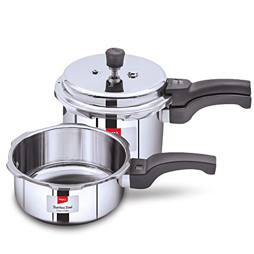 Impex EP Induction Base Stainless Steel Pressure Cooker, 2 Litres, 3 Litres, Silver