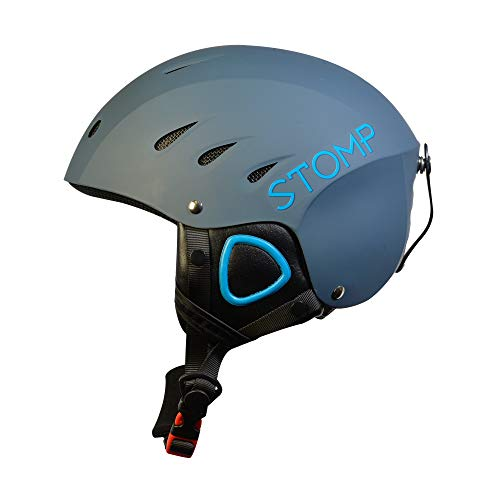 STOMP Ski & Snowboarding Snow Sports Helmet With Build-In Pocket in Ear Pads For Wireless Drop-In Headphone (MatteBlue, Large)