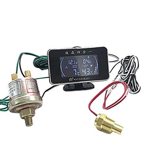 symboat calibrador de temperatura con voltímetro calibrador de presión de aceite 4en 1con Sensor de presión