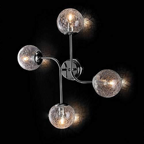 Moderne Deckenleuchte aus lackiertem Eisen, Chrom glänzend und Glas Crackle Ikarus 4 Lichter