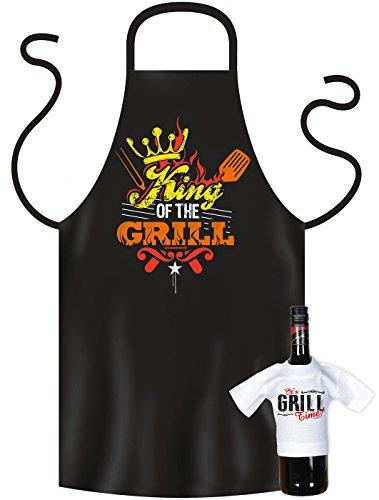 Grillschürze King of the Grill Kochschürze BBQ Schürze Geschenk Set bedruckt mit Mini Flaschenshirt