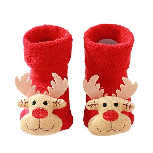 Hausschuhe Baby Weihnachten Socken Antirutsch Mädchen Junge Elch Warm Weiche Sohle Elegant Weihnachts Lauflernschuhe (0-6 Months, V2)