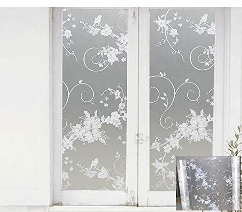 N / A Hochwertige Selbstklebende dekorative Matte undurchsichtige explosionsgeschützte Sichtschutzaufkleber weiße Blumen- und Vogel-Heimdekorationsfolie A43 45x200cm