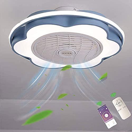 Ventilador De Techo con Iluminación LED Luz,Ajustable Velocidad del Viento con Control Remoto y Bluetooth App,60W Regulable Lampara LED Techo Invisible Decoración de Interiores,Azul