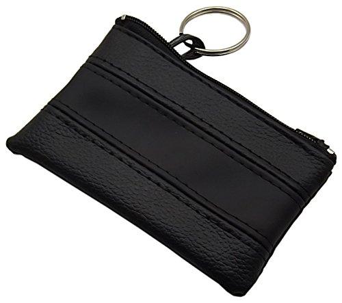 Praktische Schlüsseltasche/Schlüsseletui/Schlüsselmäppchen mit 1 Reißverschlussfach (Schwarz/Schwarz)