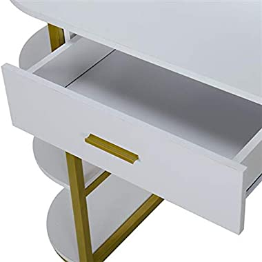 AUTOKOLA Home Special-Shaped Mirror Single Drawer Three-Layer Frame-Steel Frame Dresser White 3-7 Days Delivery
