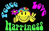 flaggenmeer® Flagge Smiley Peace Love Happiness 80 g/m² ca. 90 x 150 cm