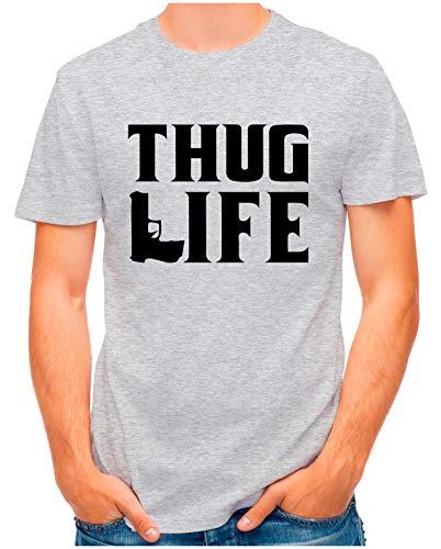 OM3® - Thug-Life - T-Shirt | Herren | Gangsta Slogan Skull Hip Hop Rap Swag Printshirt | Grau Meliert, L