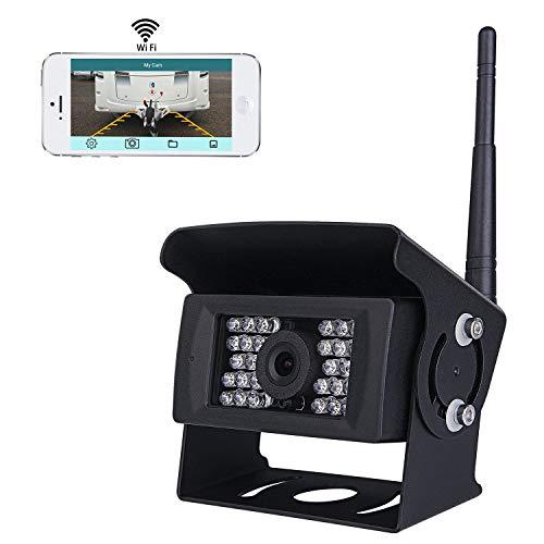 pumpkin1:Wireless Wifi Rückfahrkamera CCTV-System, 36V bis 12V IP69 Wasserdicht Super Night Vision 28 IRs leuchtet Rückfahrkamera mit Backup-Linie Monitor Kit kompatibel mit iPhone / iPad und Android