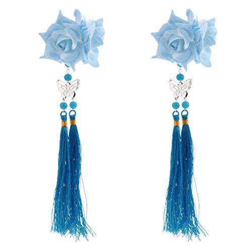 sharprepublic 2 Stücke Chinesischen Stil Stoff Haar Alligator Clip Quaste Haarschmuck - Blauer See
