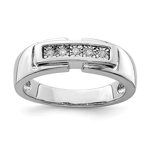 925 Sterling Silver Mens Diamond Band Ring Size 9.00 Man Fine Jewellery For Dad Mens Gifts For Him