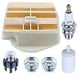 Filtro de aire Filtro de combustible Bujía Kit para Husqvarna 445 450 Rancher 450 e II 445E II con bombilla de imprimación 531309681 544080803 503443201