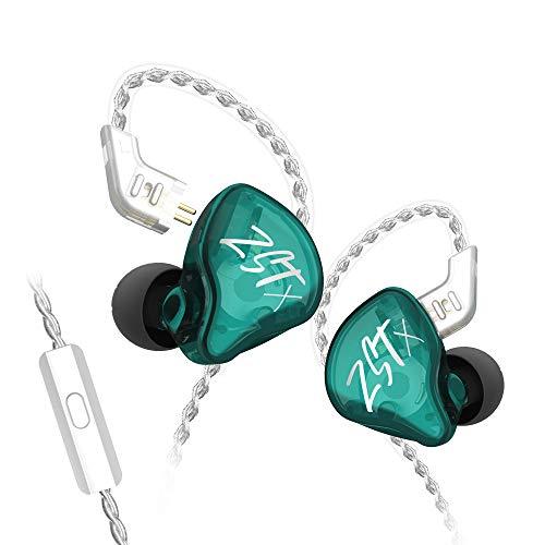 Yinyoo KZ ZSTX Hybrid 1BA+1DD in Ear Monitor Earbuds Equilibrio Armature con auriculares dinámicos in-Ear Auriculares HiFi Headset (con micrófono, cian)
