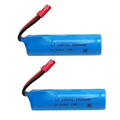 RFGTYH Batería de 3,7 V 1500 mAh para helicóptero RC, Aviones, Coche, Barco, Juguetes, batería de 3,7 v, batería de Iones de Litio JST 2PCS