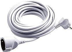 Meister Schutzkontakt-Verlängerung - 3 m Kabel - weiß - Kunststoffleitung - IP20 Innenbereich / Kupplung mit Berührungsschutz / Schuko-Verlängerung / 7432310