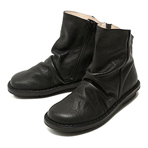 [トリッペン] ショートブーツ PLEATS-BUF212(36(22.5-23cm) BLACK) PLEATS-BUF212