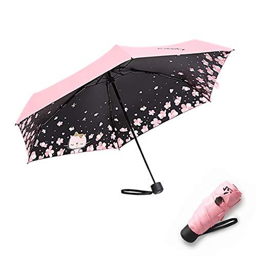 Meiyijia Mini Ombrello, Ombrello Ultraleggero,Anti-UV Antivento Doppia-Uso Ombrello Pioggia/Sole,Portatile Compatto Ombrello Pieghevole Ombrello da Viaggio
