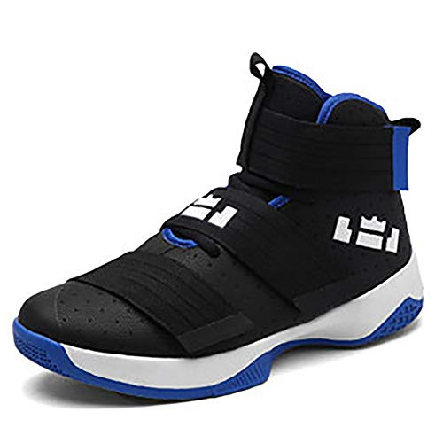 XIGUAFR Chaussure de Basketball Homme Montante Respirant Chaussure de Sport Outdoor Antichoc Résistant à l'usure Noir Bleu 40