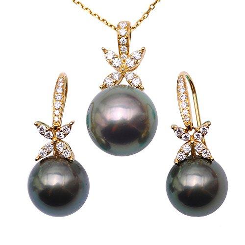 JYX Splendida collana e orecchini con pendente di perle tahitiane nere da 11-12,5 mm incastonate in oro 18k e diamanti 18'