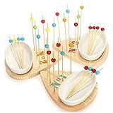COM-FOUR® juego de tapas de 36 piezas de madera, tabla de servir, cuenco y brochetas de madera para bocadillos, aperitivos, anti-pasti, tapas, quesos, frutas y más (36 piezas - gotas de colores)