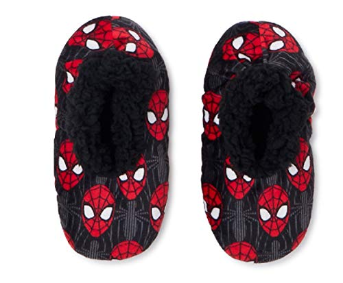 Spider-Man Spiderman Boys Fuzzy Babba Slipper Socks, Sizes S/M - M/L (Face, Medium-Large)