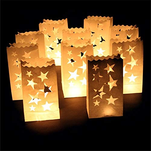 weichuang Flameless candle 10 pcs/lot Outdoor Candle Lantern Stars Tea light Holder Paper Lantern Candle Bag for Festive Party Supplies Wedding Decoration Flameless candle (Color : Star moon)