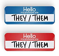 Image: HELLO MY PRONOUNS ARE THEY/THEM pronoun pin badge button or magnet, LGBTQ+, LGBT