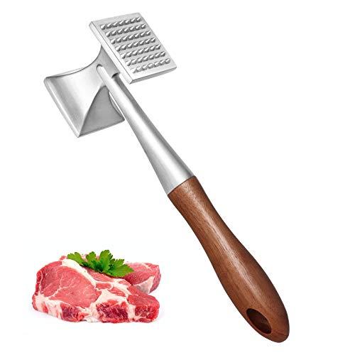 Asdirne Fleischklopfer, Schwer Belastbar Fleischhammer, Steakhammer mit Holzgriff und Lebensmittelechter Zinklegierung, 2 in 1 Fleischklopfer, 26 CM