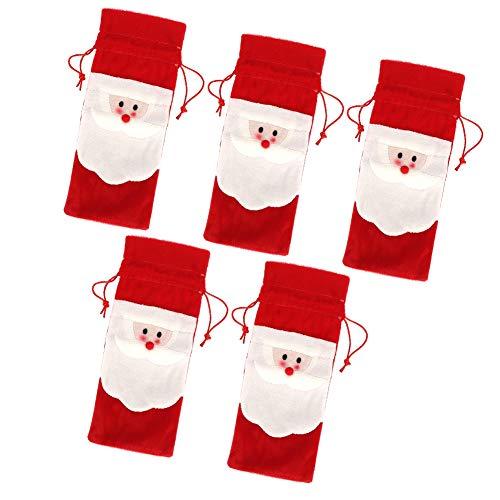 Ideales Geschenk Weihnachtsmann Weinflaschenabdeckung, Tischdekor Weinflaschentasche, für Party Hochzeiten Weihnachtsgeschenk Geburtstage