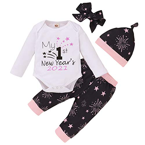 4Pcs Baby Boy Girl Christmas Outfits My 1st New Year's 2021 Romper+Fireworks Pants+Hat+Headband Clothes Set (Pink, 0-3 Months)