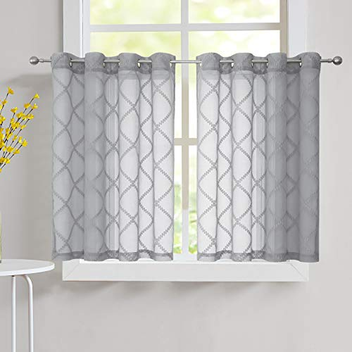 """Nottingson Home Gray Sheer Kitchen Curtains 45 Inch Length Jaquard Woven Linen Textured Short Cafe/Bathroom Voile Drapes with Geometric Pattern Ring Top Window Treatments 54"""" Wx45 L 2 Panels"""
