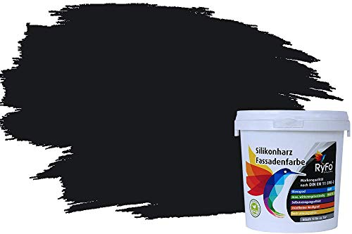 RyFo Colors Silikonharz Fassadenfarbe Lotuseffekt Trend Schwarz 1l - bunte Fassadenfarbe, weitere Grau Farbtöne und Größen erhältlich, Deckkraft Klasse 1