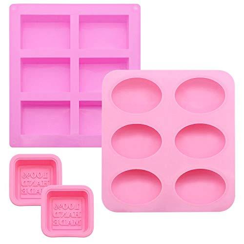 UBERMing 4 Paquetes de Moldes de Pastel Moldes de Jabón Suave Moldes de Silicona para Uso Alimentario Moldes Reposteria para...