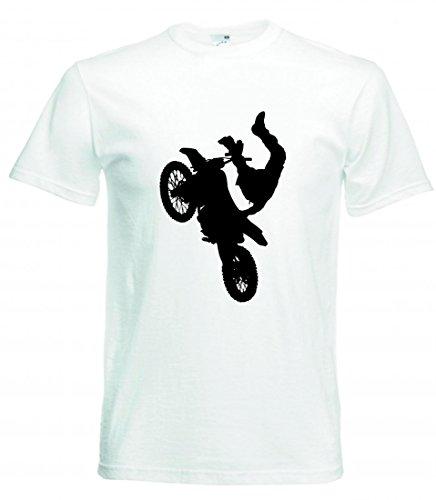 Camiseta de atleta para bicicleta, niño, hombre, motocross, motocross, bicicleta, bicicleta, silhouette, deporte, trick, transporte, vehículo para hombre, mujer, niños, 104 – 5 XL Blanco Mujer Gr.: X-Large