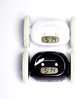 CLOCKY, Original Alarm Clock on Wheels | Loud for Heavy Sleeper (Adults and Kids Bed-Room) Cool, Fun Clockie Will Jump, Chase, Run-Away, Move, Roll (Black & White)