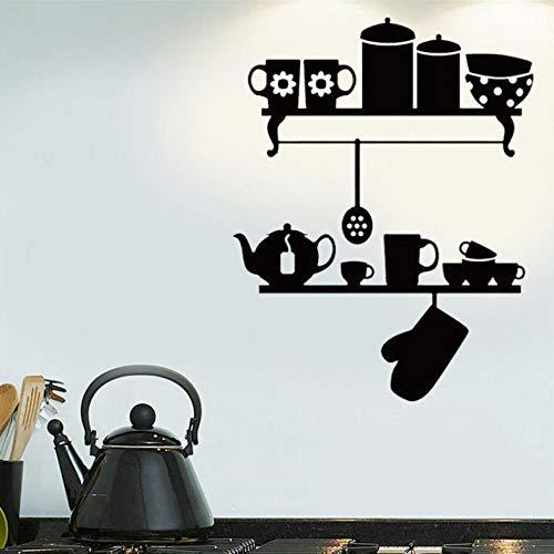Bestek keuken rekken theepot oven handschoen muurkunst sticker vinyl wooncultuur restaurant café muurschildering behang 42x54 cm