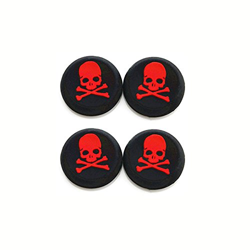 Silicone Thumb Grip Cap Cover Thumbstick Joystick for Sony PS3 PS4 PS2 Xbox One Xbox 360 XBox One X S PS4 Pro Slim Skull Head Print (4PCS Red)
