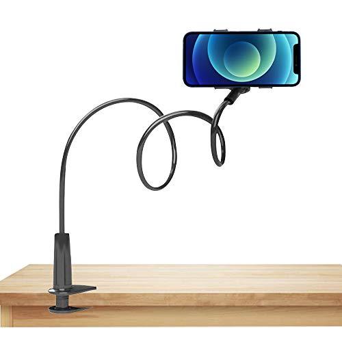 Soporte para Móvil Universal Brazo Cuello de Cisne Largo Articulado Ideal Cama Flexible 360º Smartphone Teléfono 4 a 6,5 Pulgadas Compatible con Todas Las Marcas de móviles (Negro)