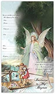 DPW Baptism Bautizo Christening Party InvitationEnglish Invitaciones Guardian Angel Baby Fiesta 10PC