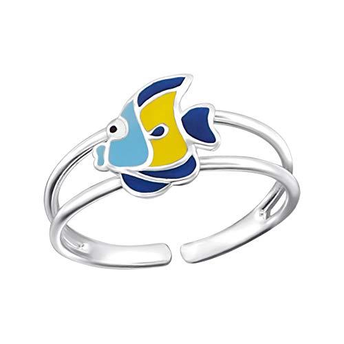 Kinder Ring Fingerring bunter Fisch verstellbar 925er Silber Mädchen