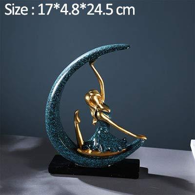 YUELI Moderne Statue Skulptur Mondgöttin Figur Skulptur Moderne Tanzende Mädchen Statue Wohnzimmer Ornamente Geburtstagsgeschenke Artware Home Decoration Geschenk, A.