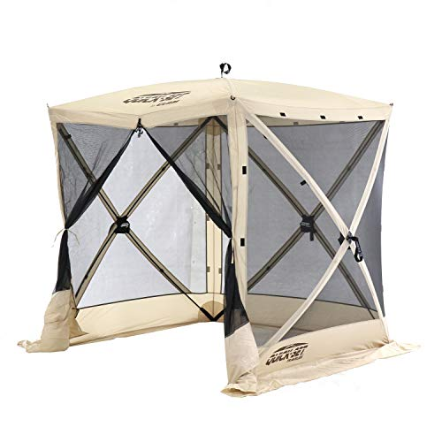 CLAM Quick-Set 6 x 6 Foot Traveler Portable Pop Up Outdoor Camping Gazebo 4 Sided Canopy Shelter with Ground Stakes and Carrying Bag, Tan