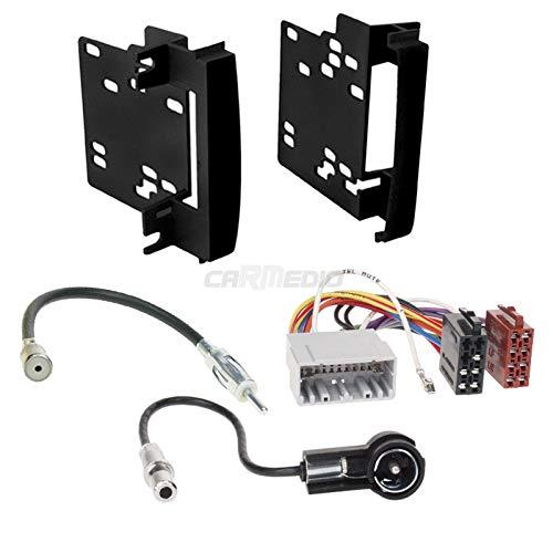Carmedio Kit de montage d'autoradio 2 DIN pour Dodge Avenger à partir de 2007 - Qualité Plug & Play - Avec adaptateur d'antenne, câble de connexion radio et façade d'autoradio - Cadre de montage noir