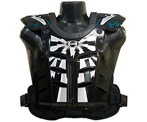 HRP Flak Jak IMS RC Motocross Chest Protector Black Silver blue/green Roost Deflector (Large (145-190 lbs)