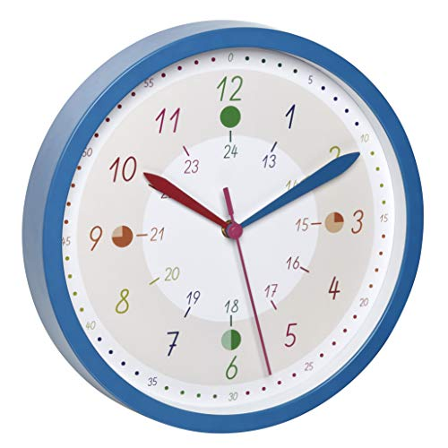 TFA Dostmann Tick & Tack 60.3058.06.90-Reloj de Pared analógico Infantil con Marcas, Multicolor, plástico y Cristal, Azul, (L) 308 x (B) 44 x (H) 308 mm