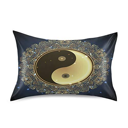 BGIFT - Funda de almohada de satén con diseño de mandala, diseño de mandala, tamaño king de 50 x 100 cm, para cabello y piel