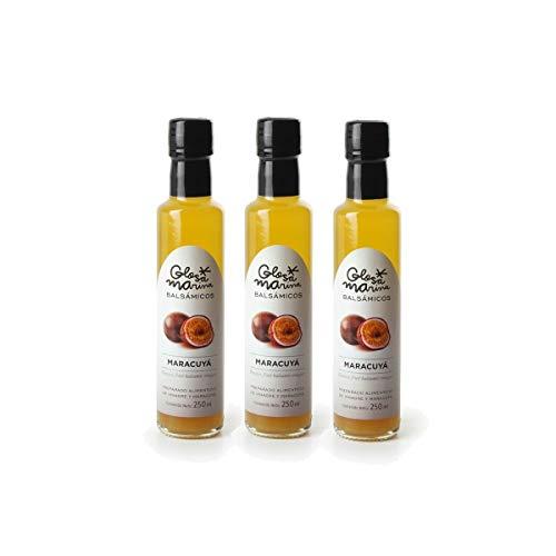 GLOSA MARINA 3er Paket *MARACUYÁ* Crema Balsámica de Maracuyá - Balsamico Gourmet Essig Creme Maracuja (3 x 250ml)