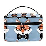 TIZORAX Zorros en Gafas y Corbatas Bolsa de cosméticos Estuche de Aseo de Viaje Caja de Organizador de Maquillaje Grande