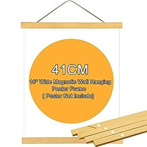 FAVENGO 4 Pcs 41 cm Barras Colgar Poster Marco Magnetico Poster Colgador Poster Madera Madera Natural Marcos Marco Magnetico Madera para Colgar Poster Carteles Foto Obra + Una Cuerda de Gamuza
