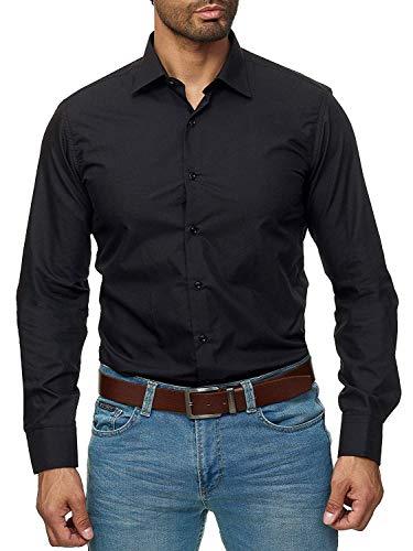 Gdtime Homme Chemise Manches Longues sans Repassage Facile Slim Fit Uni Infroissable (Noir, S(EU))